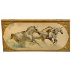 Средние нарды в деревянном коробе Лошади