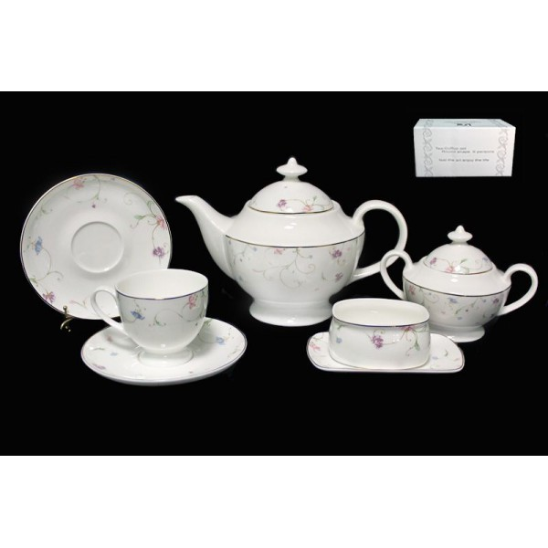 Фарфоровый чайный сервиз из 18 предметов Английский сад
