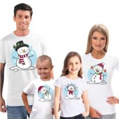 Футболки для семьи на четверых Снеговики