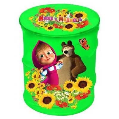 Корзина для игрушек зеленая Маша и медведь