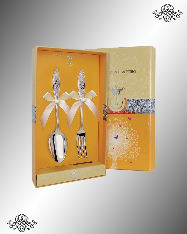 Серебряный десертный набор Морозко (2 предмета)