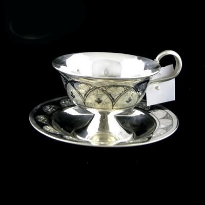 Чайная пара серебряная