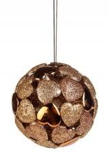 Набор елочных шаров Сердца, бронзовые