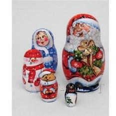 Матрешка из пяти фигурок Семейка Деда Мороза