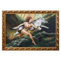 Картина из каменной крошки Бегущая с волком (40х60 см)