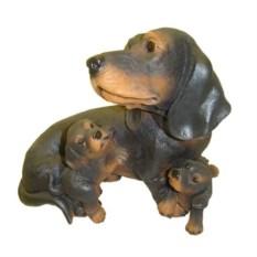 Декоративная садовая фигура Такса со щенками