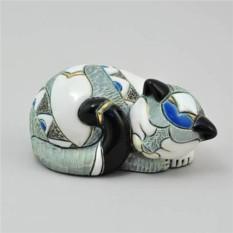 Керамическая статуэтка с позолотой Кошка спящая