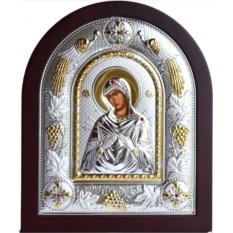 Семистрельная икона Богородицы в серебряном окладе