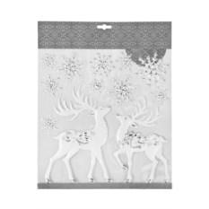 Набор новогодних наклеек Сказочные олени и снежинки
