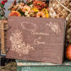 Деревянная книга пожеланий Цветы