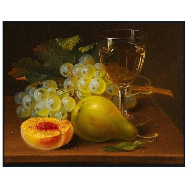 Картина-раскраска по номерам на холсте Фрукты и вино