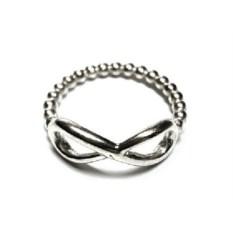 Серебряное кольцо Бесконечность - шарики