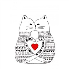 Открытка Кошки в свитере