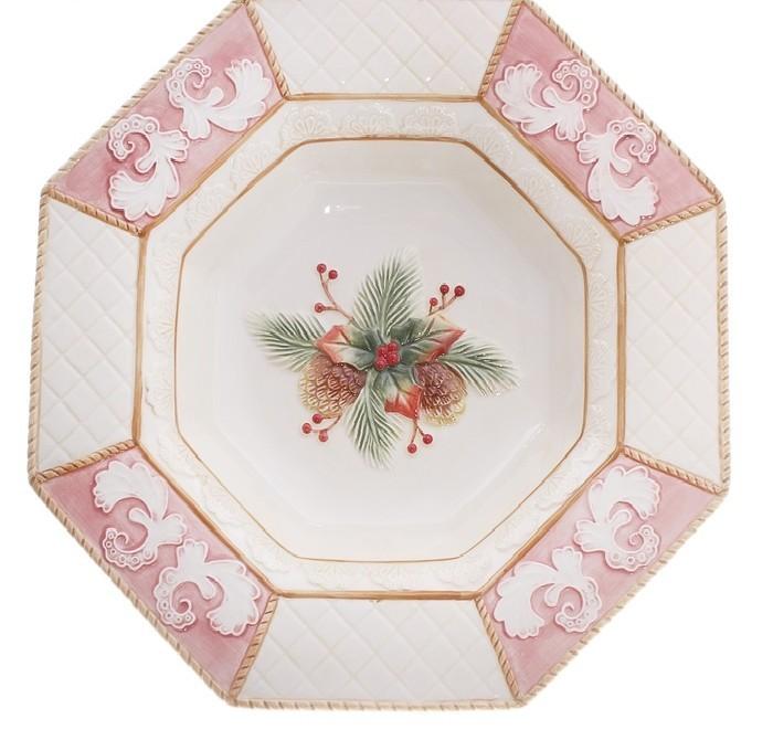 Тарелка Еловые шишки, восьмиугольная