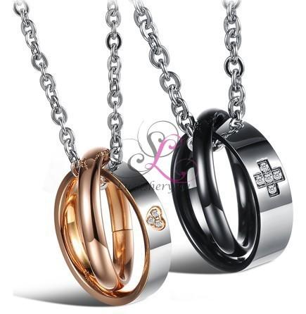 Двойной кулон в виде колец для влюбленных
