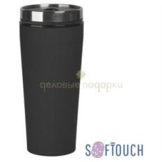 Черный термостакан с покрытием soft touch Верона
