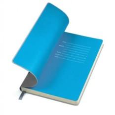 Серый бизнес-блокнот А5 Funky с голубым форзацем
