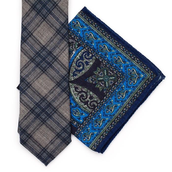 Платок Roda из шерсти, с восточным узором, синий-голубой