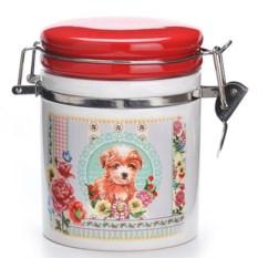 Красная банка для сыпучих продуктов Собачка