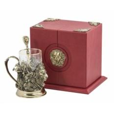 Набор для чая Лев (кожаный футляр, бронза)