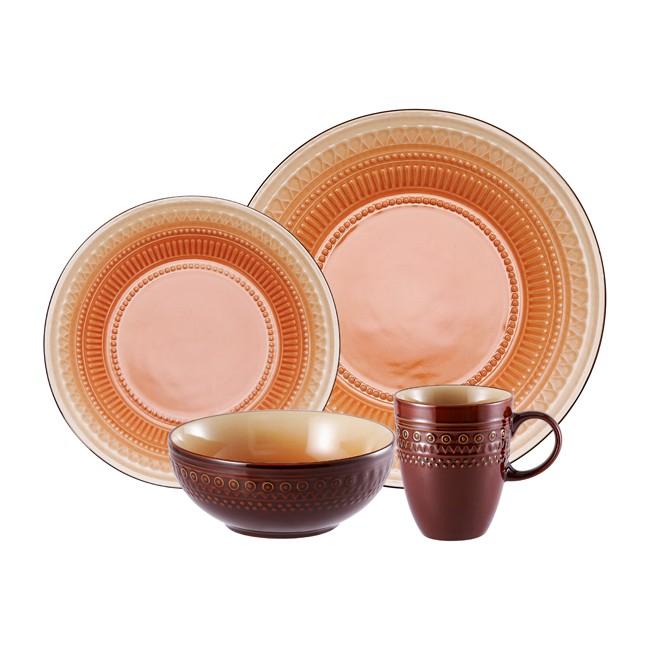 Столовый сервиз из 24 предметов на 6 персон Country Orange-Brown