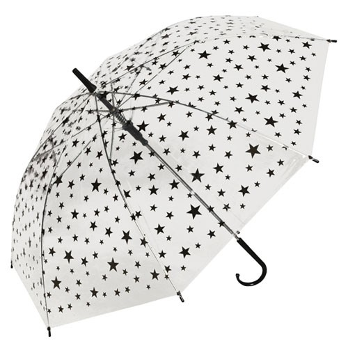 Прозрачный зонт Черные звезды