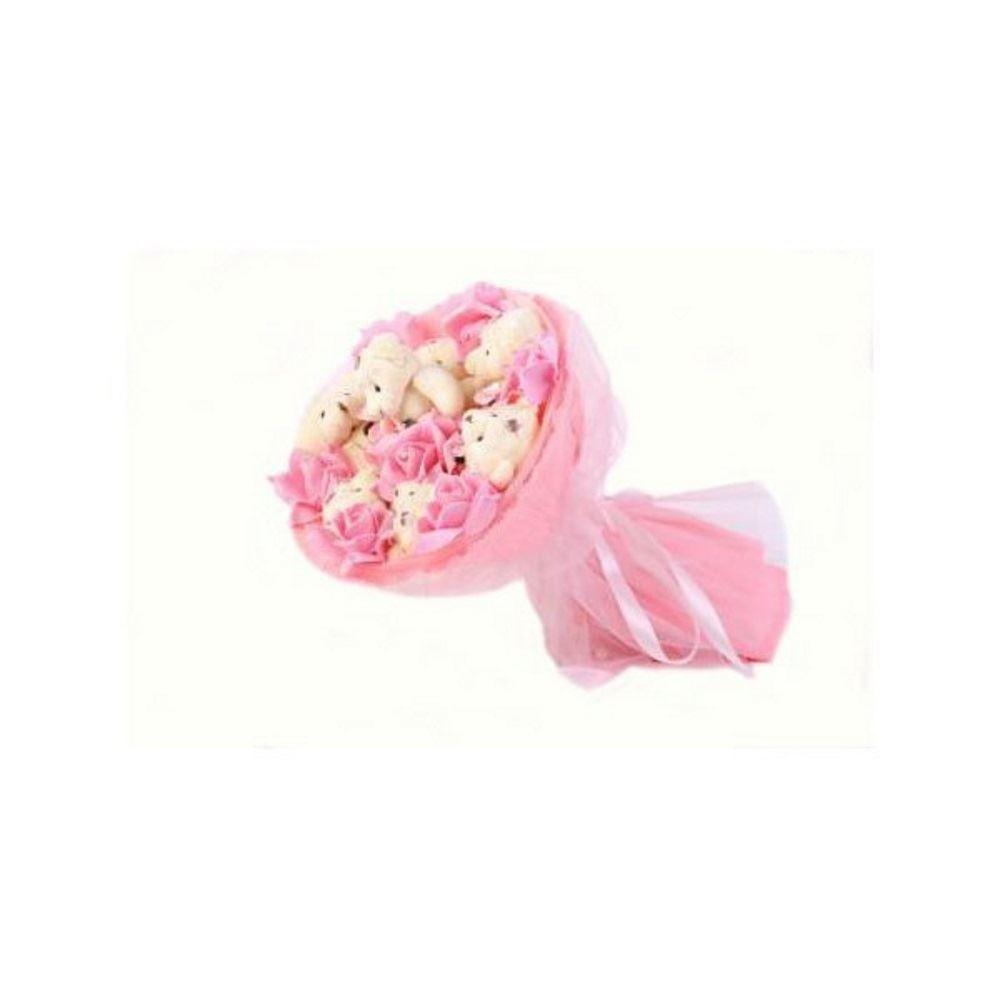 Букет из мягких игрушек Медвежата и розы (цвет — розовый)