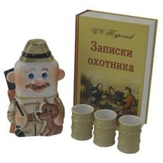 Штоф Охотник и 3 стопки в футляре в виде книги