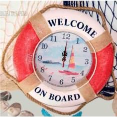Красные настенные часы Спасательный круг 35 см