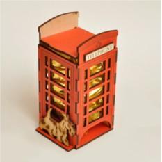 Резная шкатулка для чая Телефонная будка