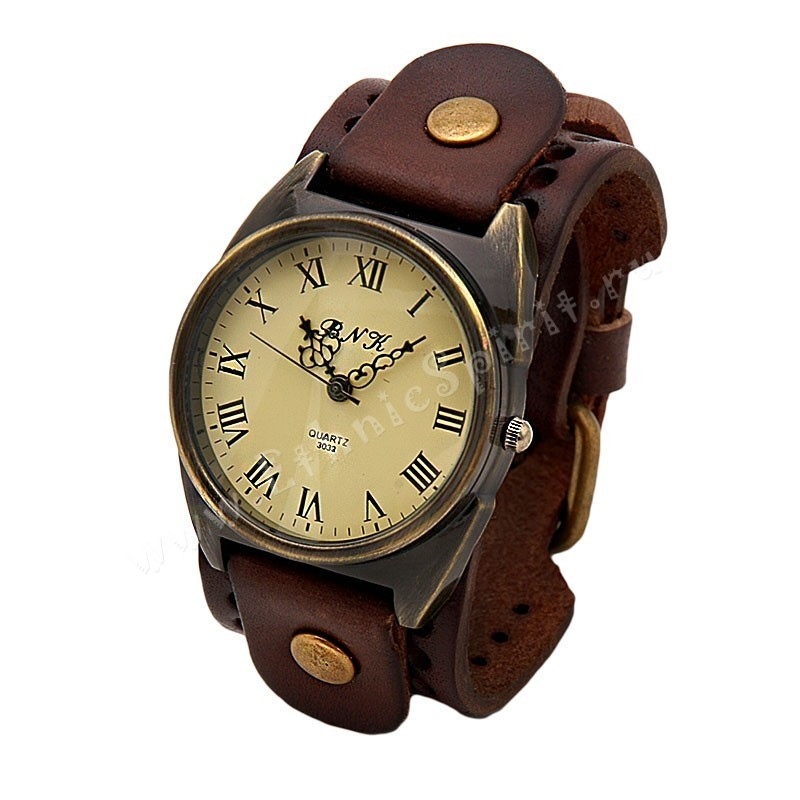 Часы в стиле ретро на кожаном браслете