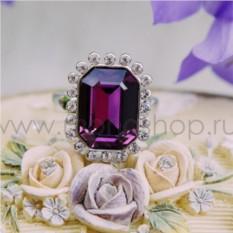Кольцо с фиолетовым кристаллом Сваровски «Магия камня»
