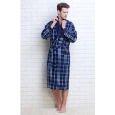 Синий вафельный халат