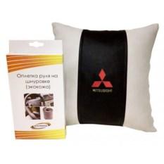 Подарочный набор (подушка, оплетка руля), Mitsubishi