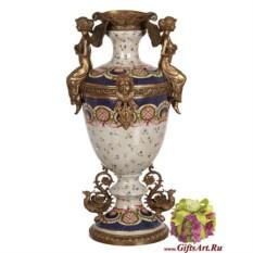 Напольная ваза Феи. Сиена из фарфора и бронзы 54 см