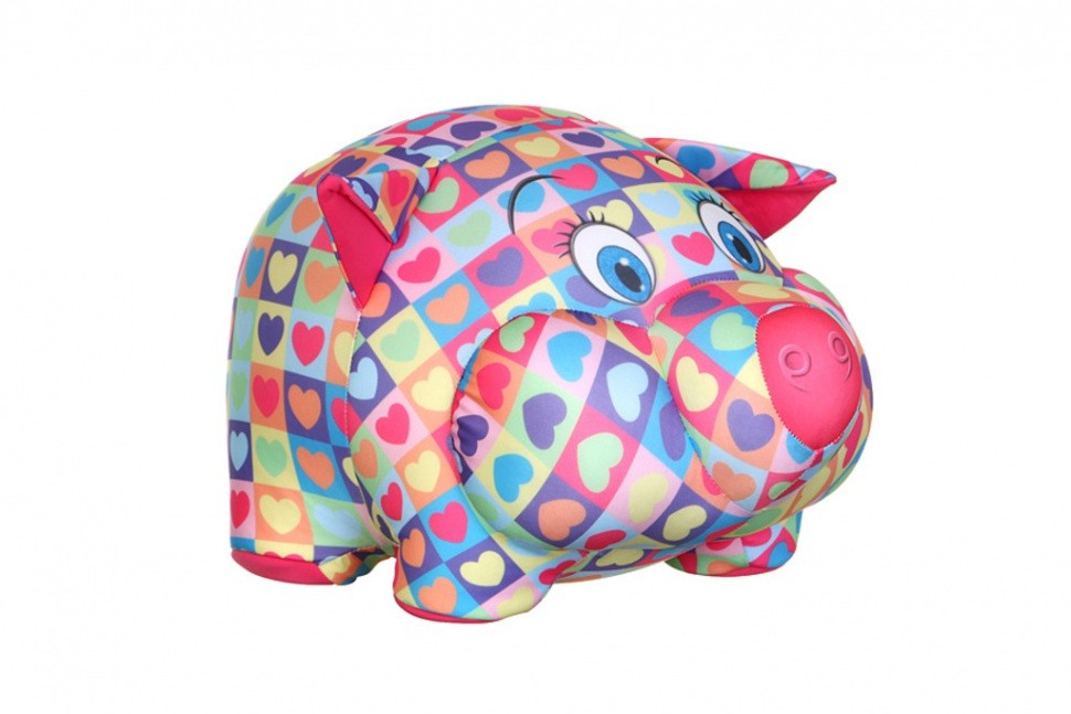 Декоративная игрушка Свинка-антистресс в сердечках