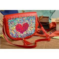 Женская сумка-седло Кристальное сердце