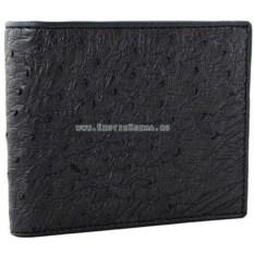 Мужской кошелек из кожи страуса (цвет: черный)