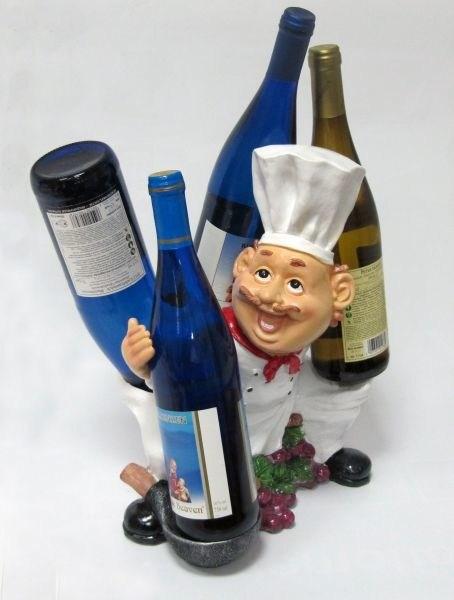 Подставка для бутылок, повар (2 бутылки по бокам)