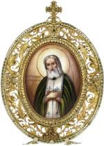Серебряная настольная икона святого преподобного Серафима Саровского