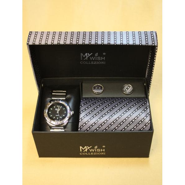 Набор мужских аксессуаров «Часы, галстук запонки»