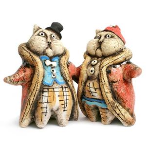 Коты «Купцы». Глиняная игрушка ручной работы