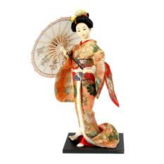 Коллекционная кукла Гейша в персиковом кимоно с зонтом