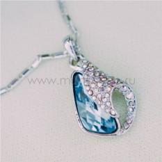 Кулон с голубым кристаллом Сваровски «Объятия»