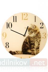 Настенные часы Серебристый котенок