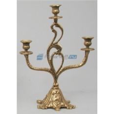 Пара золотых канделябров из бронзы на 3 свечи Трио