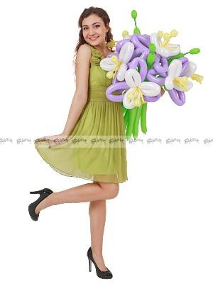 Нежные лилии маленький букет букет из шаров - 3 штуки