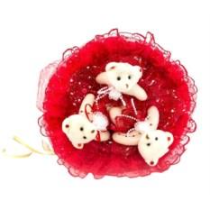 Букет с медвежатами Зефирки красного цвета