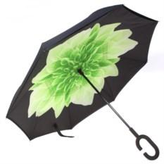 Зеленый обратный ветрозащитный зонт Up-brella Цветок
