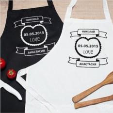 Парные именные фартуки Двое на кухне